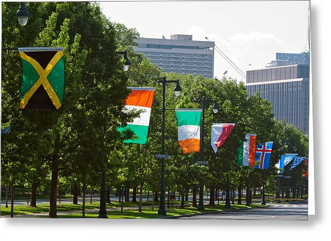 National Flags Of Various Countries Greeting Card by Panoramic Images