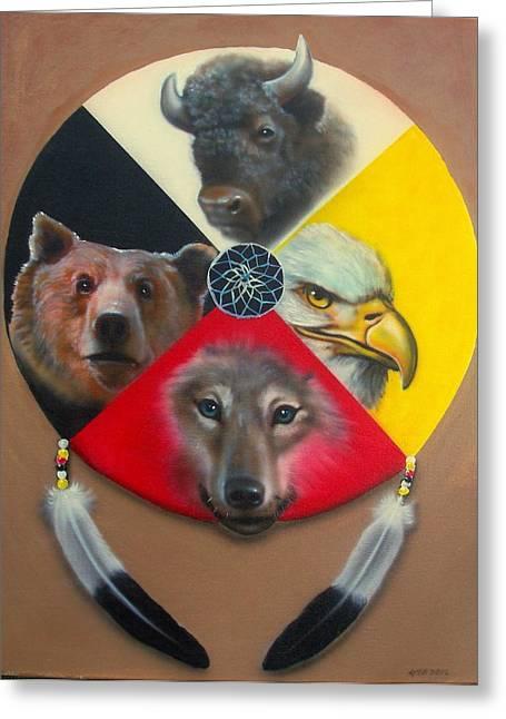 Native American Medicine Wheel Greeting Card by Amatzia Baruchi