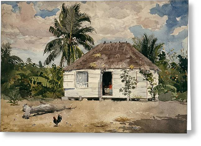 Native Huts - Nassau Greeting Card by Winslow Homer
