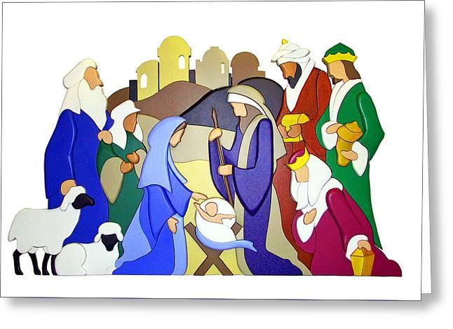 Nativity Scene Greeting Card by Munir Alawi