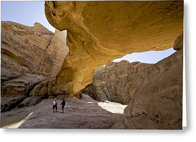 Natural Arch In Wadi Rum Greeting Card by Michele Burgess