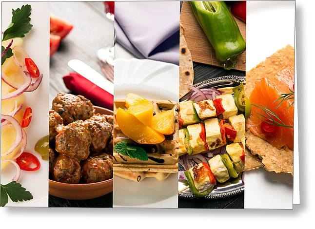 Natural Colorful Food. Photo Collage Greeting Card by Vadim Goodwill