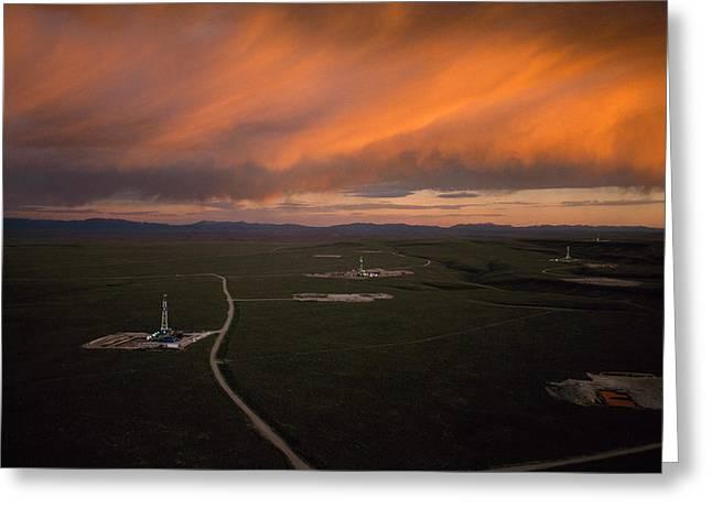 Natural Gas Drilling Rigs Dot Greeting Card