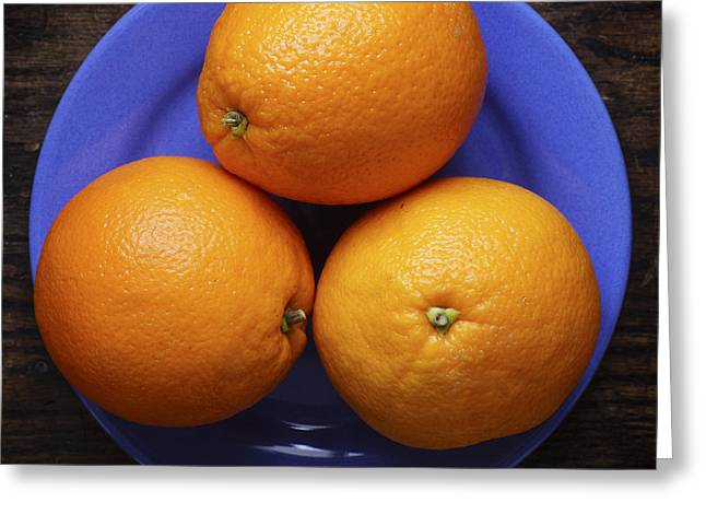 Naval Oranges On Blue Plate Greeting Card by Donald Erickson