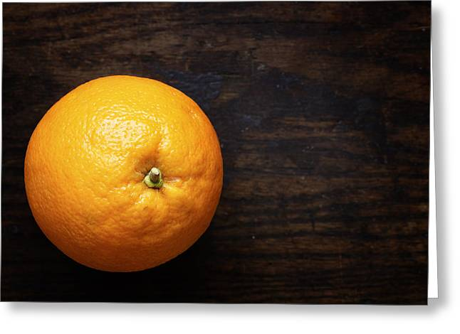 Naval Oranges On Wood Background Greeting Card by Donald Erickson