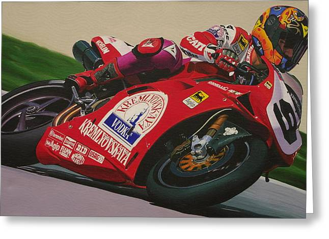 Neil Hodgson - Ducati World Superbike Greeting Card by Jeff Taylor