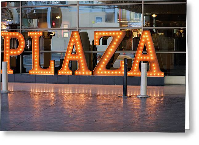 Neon Plaza Greeting Card