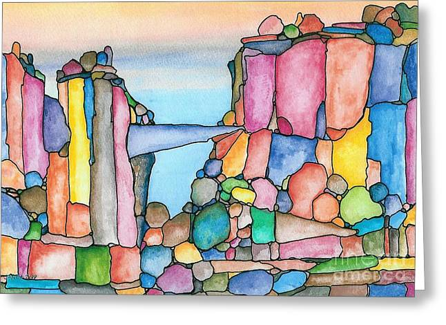 Neon Rockies Version 2 Greeting Card by Janet Hinshaw