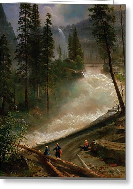 Nevada Falls, Yosemite Greeting Card by Albert Bierstadt