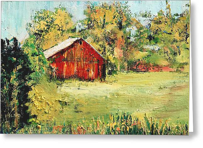 New England Barn Greeting Card by Julia S Powell
