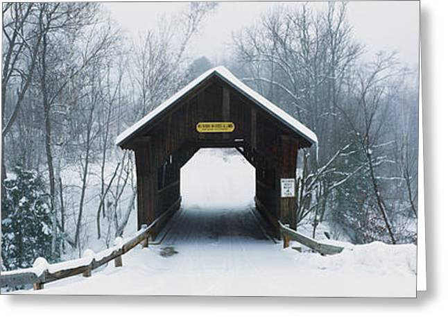 New England Covered Bridge In Winter Greeting Card