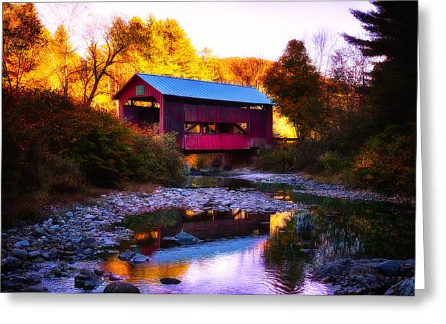 New England Fall Foliage Above Upper Cox Covered Bridge Greeting Card by Jeff Folger