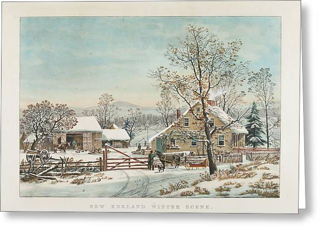 New England Winter Scene Greeting Card by MotionAge Designs