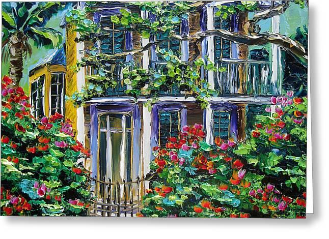 New Orleans Painting Behind The Gate B. Sasik Greeting Card by Beata Sasik