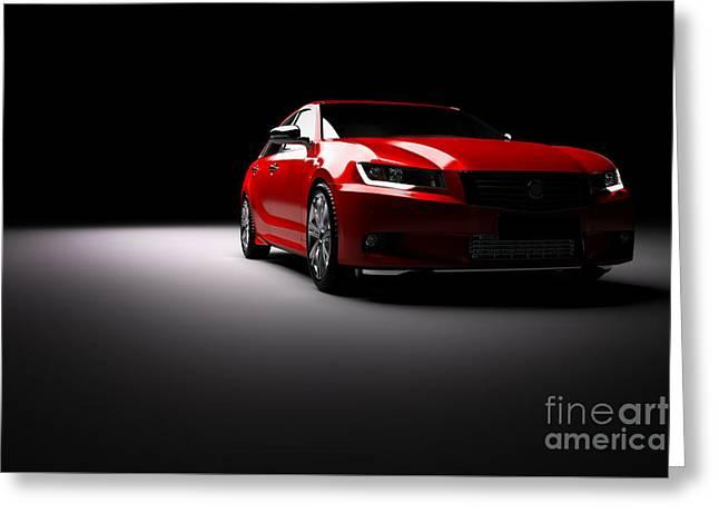 New Red Metallic Sedan Car In Spotlight. Modern Desing, Brandless. Greeting Card by Michal Bednarek