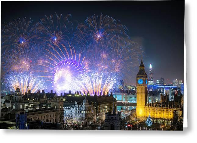New Year Fireworks Greeting Card
