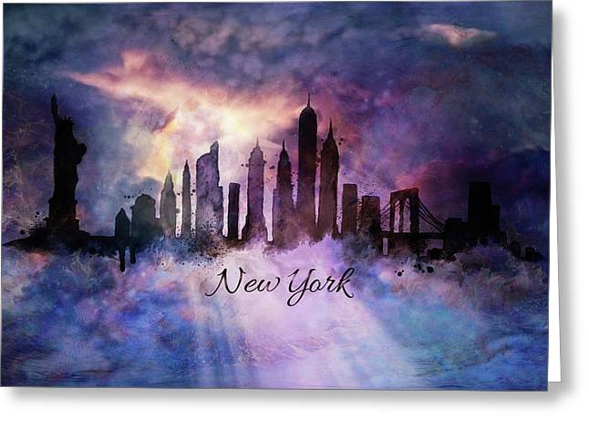 New York City Skyline In The Clouds Greeting Card by Lilia D