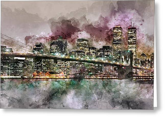 New York City Skyline Watercolor  Greeting Card