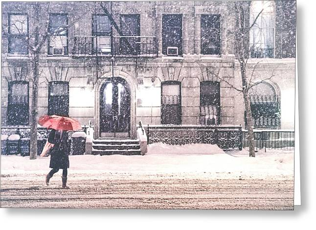 New York City Snow Greeting Card by Vivienne Gucwa
