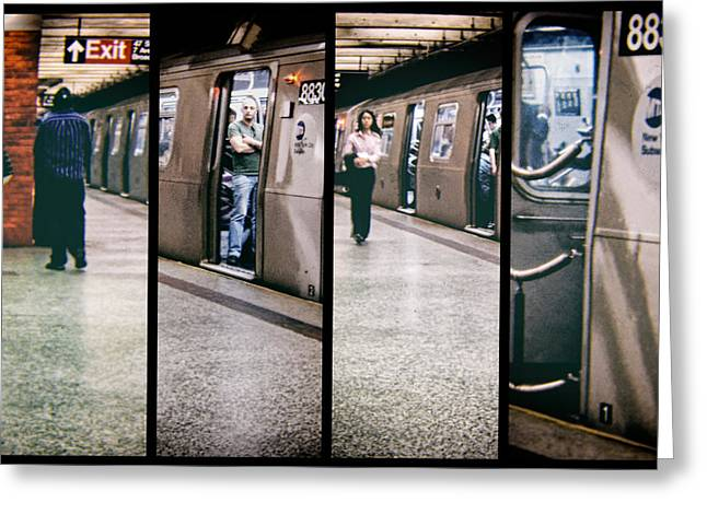 Greeting Card featuring the photograph New York City Subway Stare by Lars Lentz