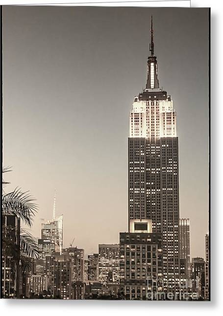 Greeting Card featuring the photograph New York Empire State Building by Juergen Held