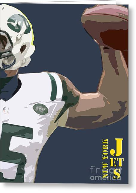 New York Jets Football Team And Original Typography Greeting Card by Pablo Franchi