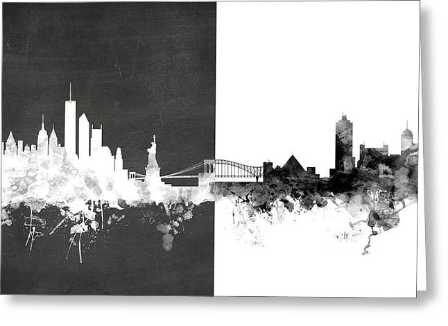 New York Memphis Skyline Mashup Greeting Card by Michael Tompsett