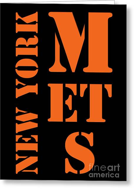 New York Mets Typography Greeting Card by Pablo Franchi