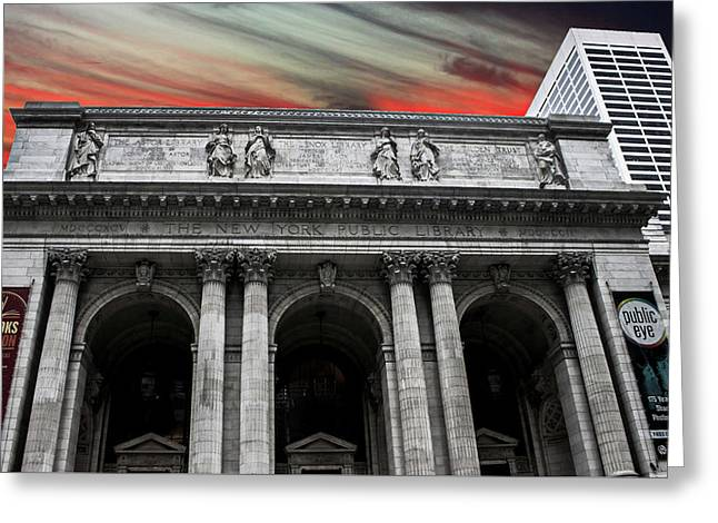 New York Public Library Greeting Card by Martin Newman