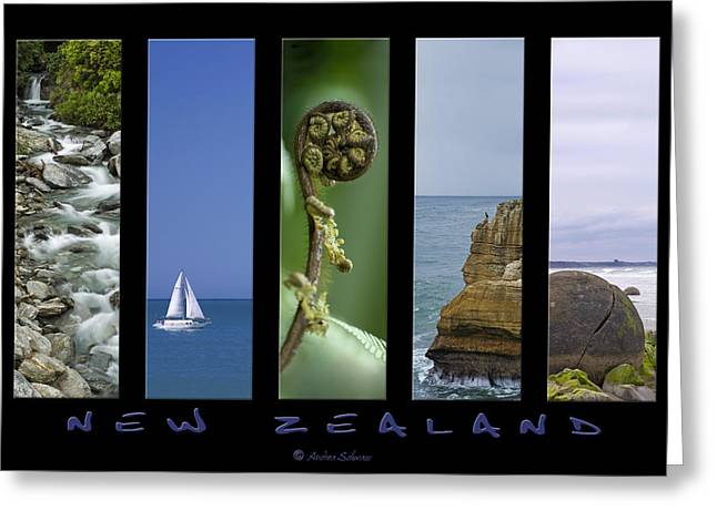 New Zealand Greeting Card by Andrea Cadwallader