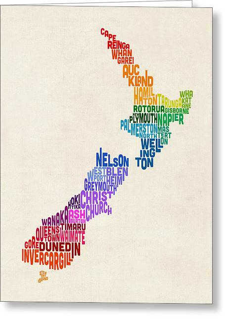 New Zealand Typography Text Map Greeting Card