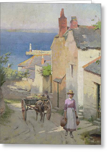 Newlyn From The Bottom Of Adit Lane Greeting Card by Leghe Suthers