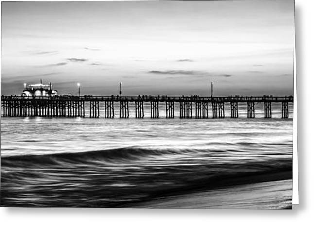 Newport Beach Pier Panorama Black And White Photo Greeting Card