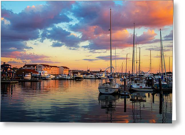Newports Dusk Greeting Card by Karol Livote