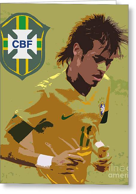 Neymar Art Deco Greeting Card by Lee Dos Santos