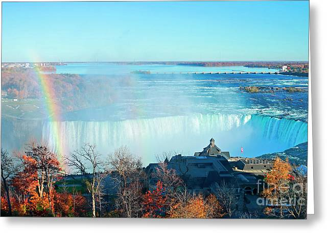 Greeting Card featuring the photograph Niagara Falls Rainbow by Charline Xia