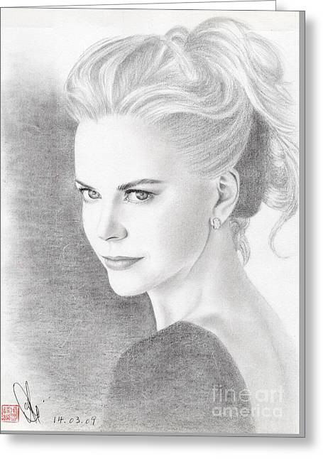 Greeting Card featuring the drawing Nicole Kidman by Eliza Lo