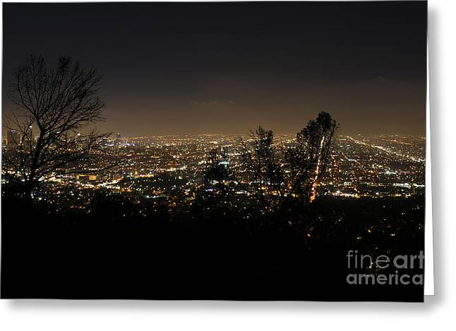 Night At Griffeth Observatory Greeting Card