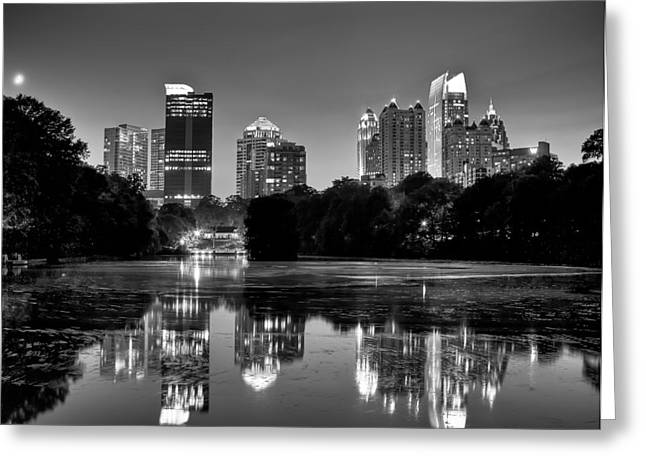 Night Atlanta.piedmont Park Lake. Greeting Card