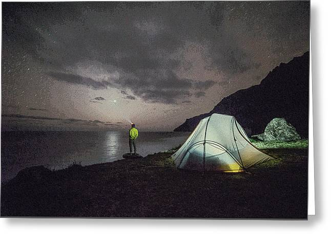 Greeting Card featuring the photograph Night Gazer by Artistic Panda