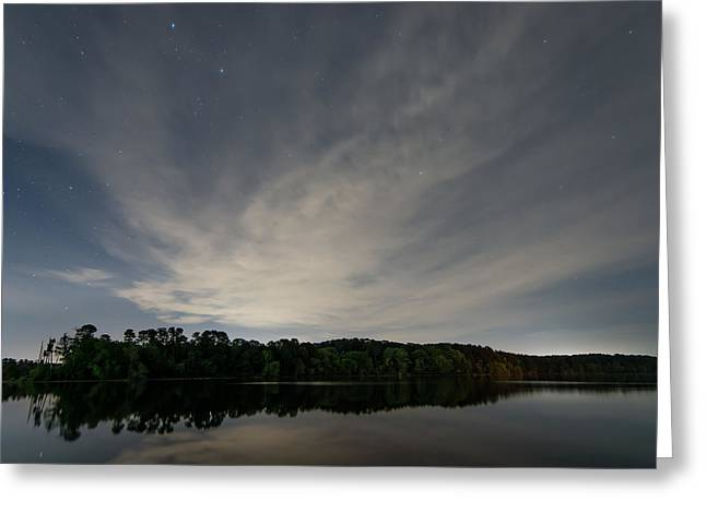 Night Sky Over The Lake Greeting Card