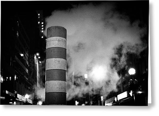 Greeting Card featuring the photograph Night Steam Nyc by Dave Beckerman