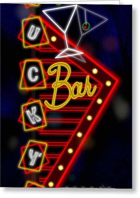 Nightclub Sign Luckys Bar Greeting Card