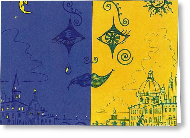 Nightime And Daytime In Venice Greeting Card by Margaryta Yermolayeva