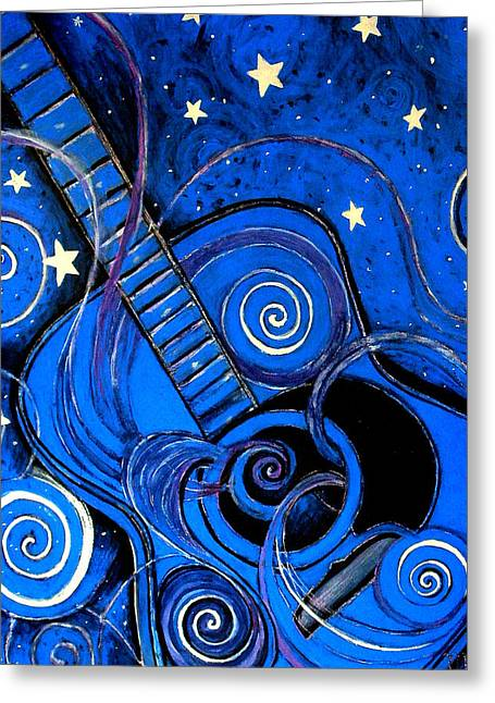 Night's Melody A.k.a. Blue Guitar Greeting Card
