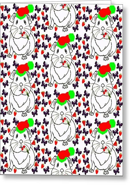 Nikki The Piggy  Greeting Card by Devorah Fraser