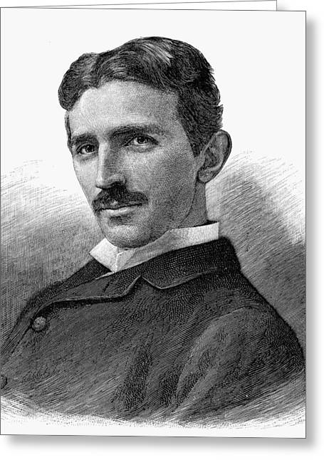 Physicist Greeting Cards - Nikola Tesla (1856-1943) Greeting Card by Granger