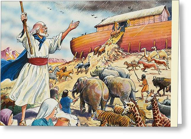 Noah's Ark Greeting Card by English School
