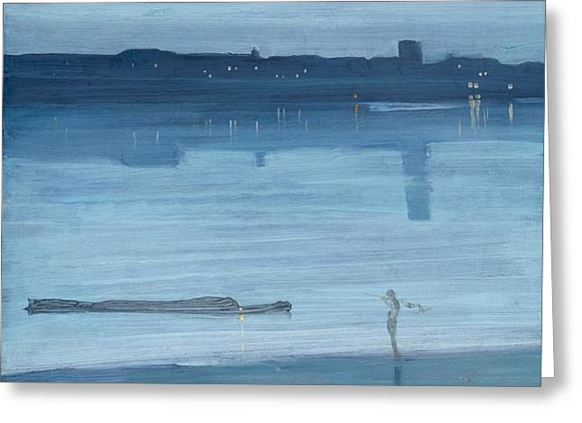 Nocturne Blue And Silver Chelsea Greeting Card by James Abbott McNeill Whistler