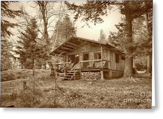 North Maine Cabin Greeting Card by Skip Willits
